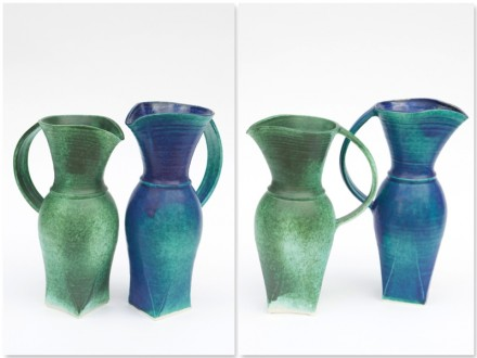 Two Jugs, sqare bottom, rawglazed, singlefired, Usch Spettigue, 2011