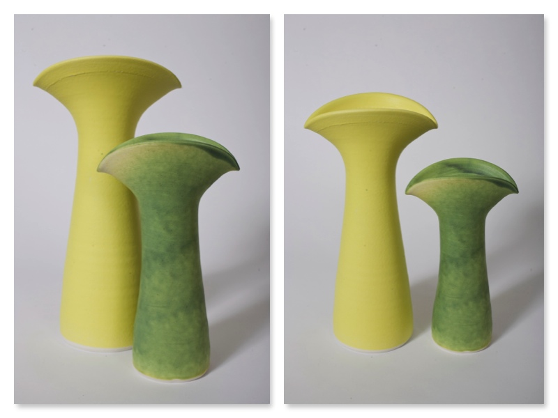 Two Twospouted Jugs, stoneware rawglazed, singlefired, Usch Spettigue 2007