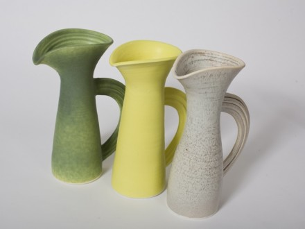 Three Small Jugs sideways handle, Stoneware, rawglazed, singlefired, Usch Spettigue.2007j