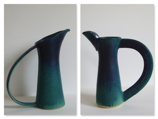 Beak Jug sideways flat handle and Cut Jug, stoneware rawglazed singlefired, Usch Spettigue 2006