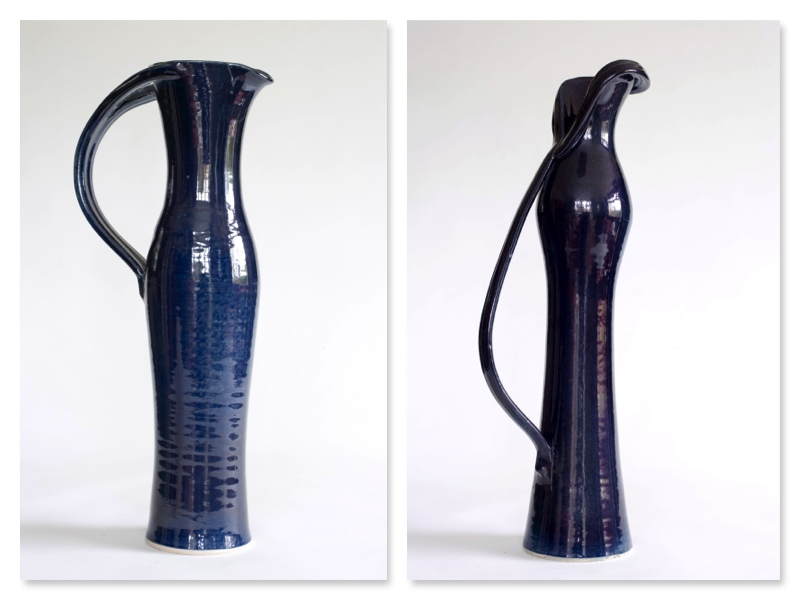 Blue Jug, split handle, and Blue Scarf Jug, stoneware rawglazed singlefired Usch Spettigue 2006
