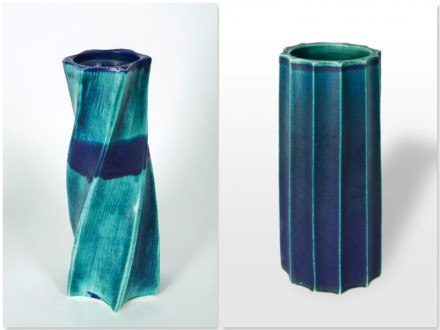 Carved Pots, surform tool, rawglazed, singlefired, Usch Spettigue 2012