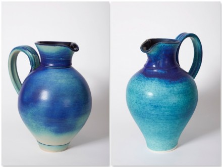 Fat Jug, Stoneware, and Traditional Jug, Porcelain, rawglazed, singlefired, Usch Spettigue 2009