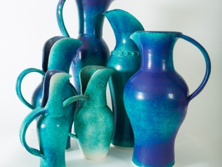 Forest of Jugs, porcelain, rawglazed, singlefired, thrown handle, Usch Spettigue 2014.jpg