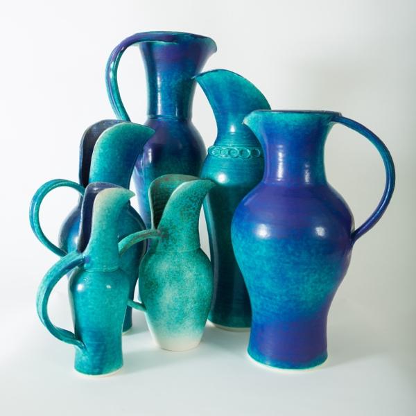 Forest of Jugs, porcelain, rawglazed, singlefired, thrown handle, Usch Spettigue 2014.jpg