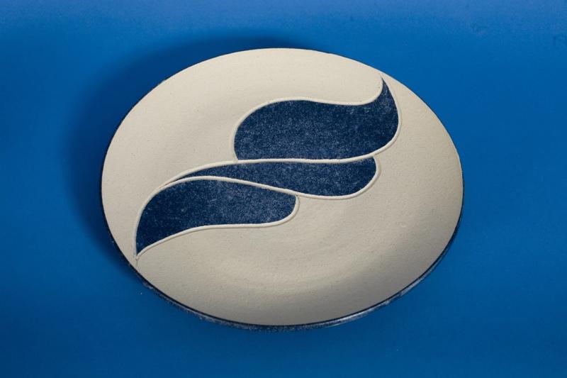Plate, stoneware rawglazed singlefired Usch Spettigue 2007