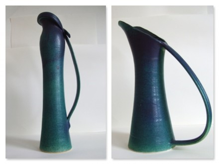Scarf Jug, and Cut Jug, green stoneware rawglazed singlefired Usch Spettigue 2005