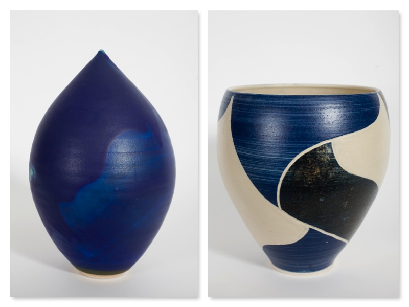 Teardrop, stoneware, and Deep Bowl, sgraffito, rawglazed. singlefired. Usch Spettigue 2007