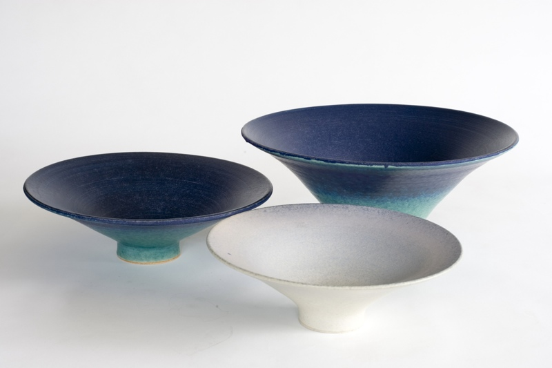 Three Bowls, stoneware rawglazed singlefired Usch Spettigue 2006