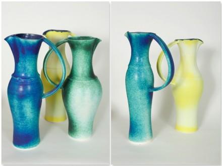 Three Jugs, porcelain, rawglazed, singlefired, Usch Spettigue 2011
