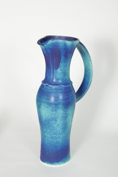 Turquoise Jug with band, porcelain, rawglazed, singlefired, Usch Spettigue, 2011