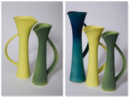 Tall Jugs, stoneware, rawglazed singlefired Usch Spettigue 2007