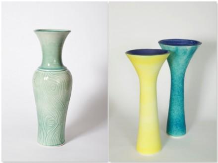 Vase, Trumpet Vases, porcelain, rawglazed, singlefired, Usch Spettigue, 2011