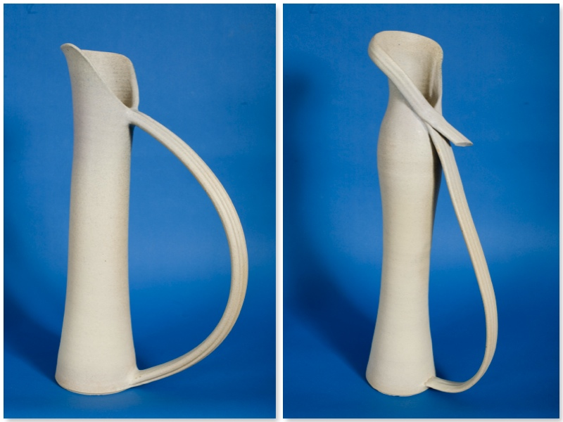 White Handle Jug and White Scarf Jug stoneware rawglazed, singlefired Usch Spettigue 2007