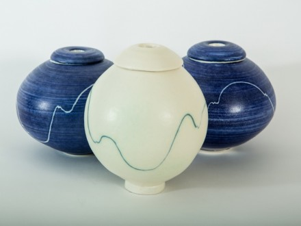 White, and blue lidded Pots porcelain, rawglazed, singlefired, thrown handle, Usch Spettigue 2014