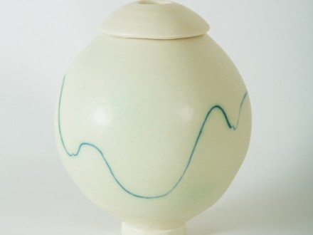 White lidded Pot, inlay, porcelain, rawglazed, singlefired, thrown handle, Usch Spettigue 2014.jpg