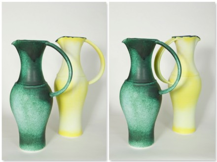 Yellow Jug and Green Jug, porcelain, rawglazed, singlefired, Usch Spettigue 2011