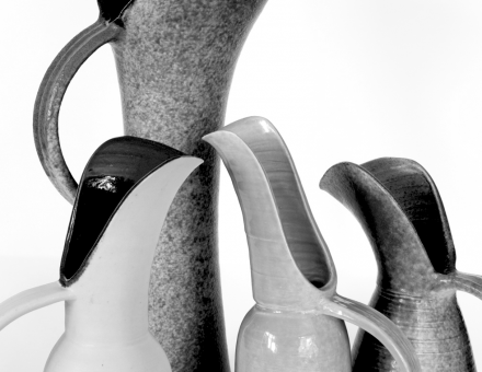 Usch Spettigue- 2017 collection of Porcelain Jugs, Pots and Bowls b_w title